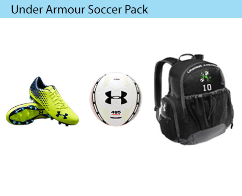 Women's Under Armour Soccer Uniform, Cleat, Pants, Practice Ball, Backpack