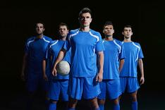 Soccer team in matching uniforms