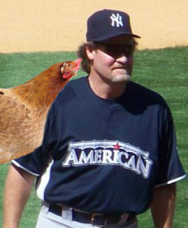 Superstitious Wade Boggs with a chicken