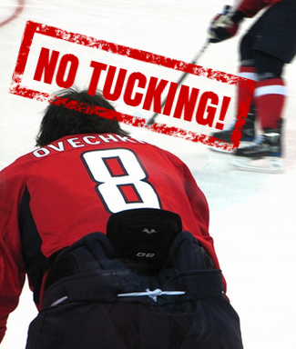 NHL's Alex Ovechkin on the ice with a tucked-in jersey