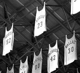 Retired players' jerseys hanging from the rafters
