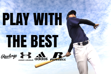 """""""Play with the Best"""" list of brands"""" Rawlings, Under Armour, Adidas and Russell Athletic"""