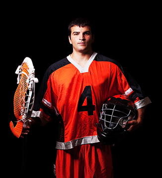 Lacrosse player in orange uniform