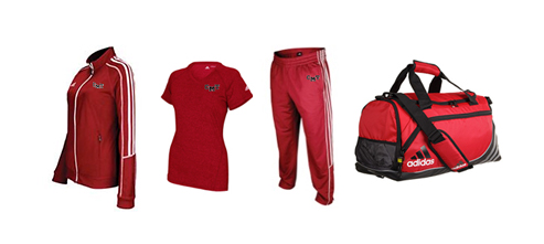 Women's Adidas Select Team Jacket, Pants, Heathered T-Shirt, and Duffel Bag
