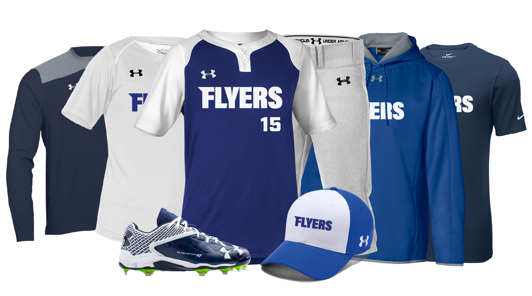 Custom uniform and team wear decorated with custom logos