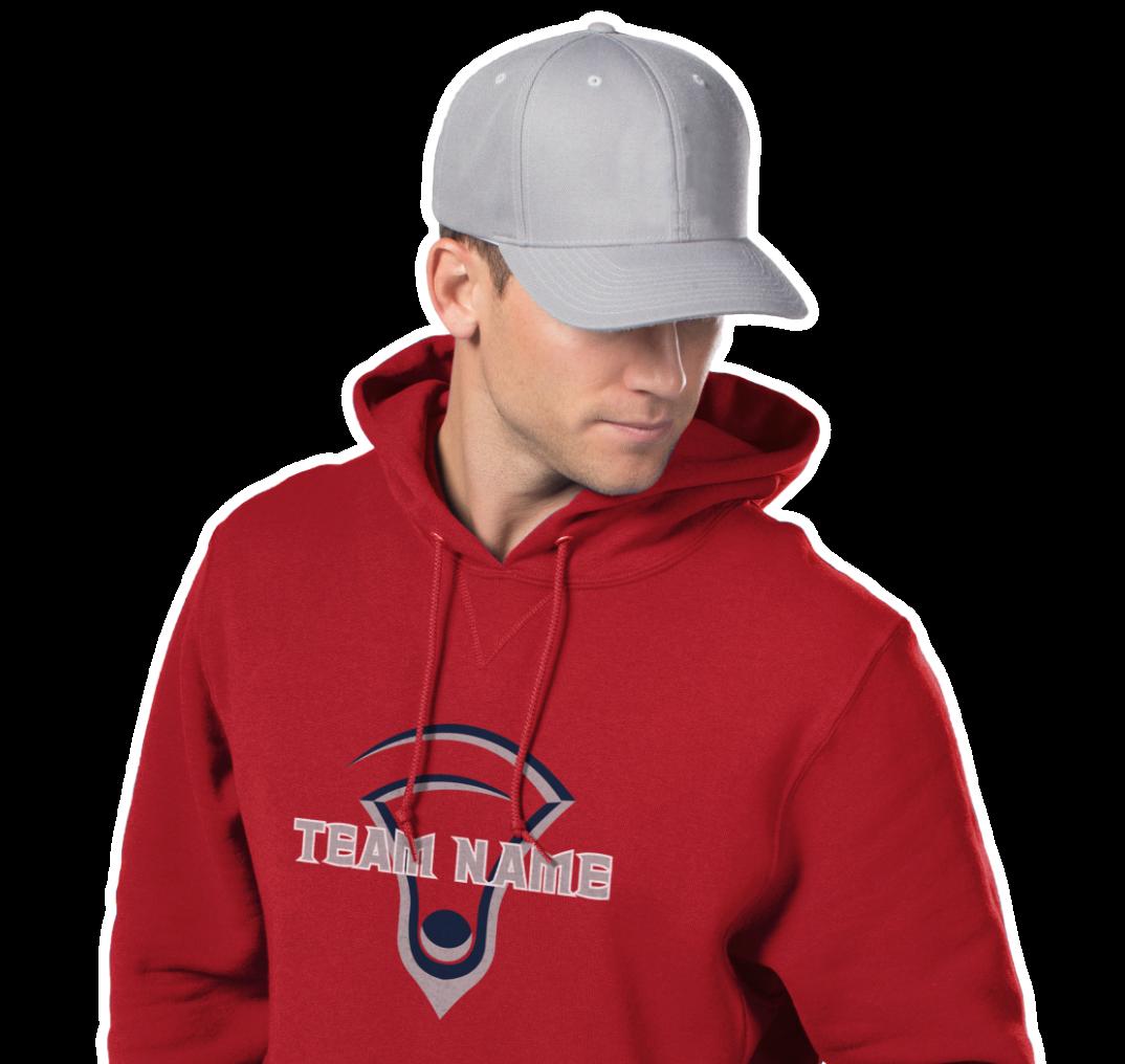 Man wearing red hoodie custom decorated lacrosse